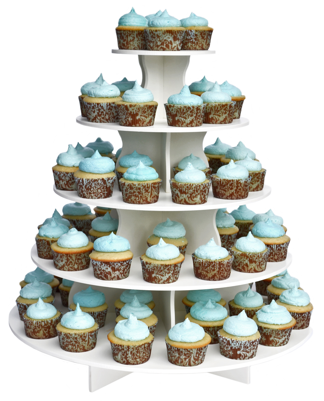5 Tier White Plastic Cupcake Tower Rental Includes 50